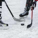 two ice hockey players disputing puck