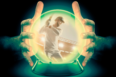 crystal ball showing Indian Premier League cricket player