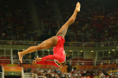 Simon Biles performing during Rio 2016 Olympic Games