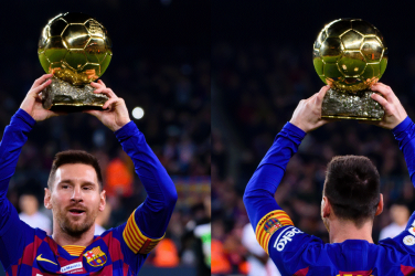 Lionel Messi lifting the Ballon d'Or award