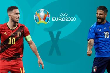 Euro 2020 Quarter-Finals Belgium vs Italy promotional image featuring Hazard vs Insigne