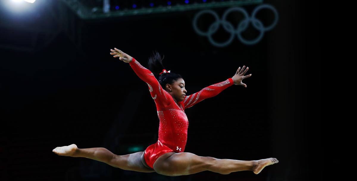 Simone Biles performing for 2021 Olympics Gymnnastiscs trials