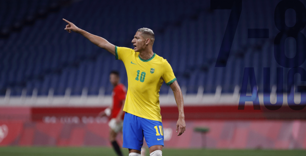 Richarlison playing for Brazil will dispute the 2021 Tokyo Football gold medal against Spain