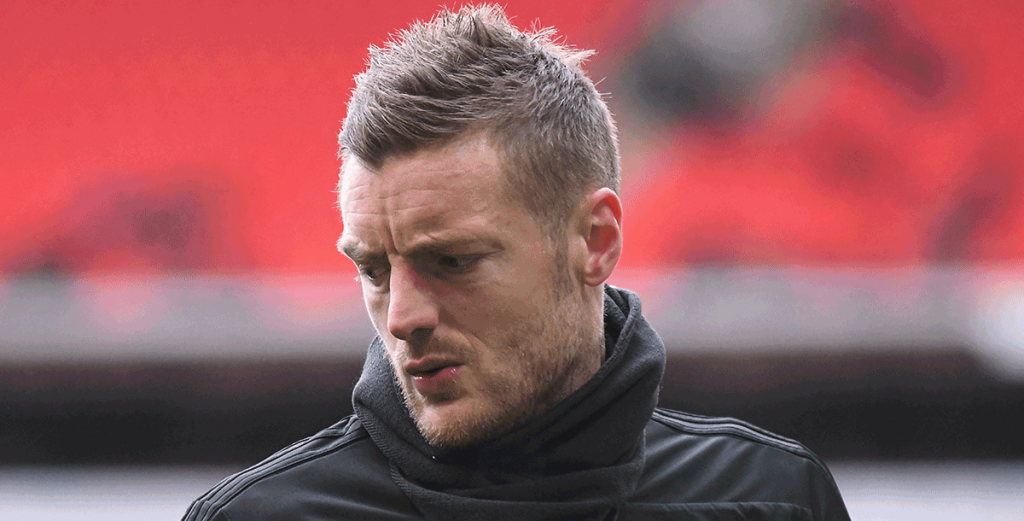 Jamie Vardy training before the clash between Leicester and Manc City